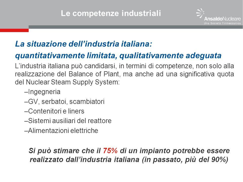Le competenze industriali La situazione dellindustria italiana: quantitativamente limitata, qualitativamente adeguata Lindustria italiana può candidar