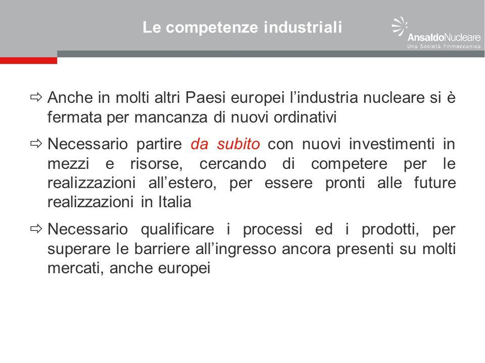 Le competenze industriali Anche in molti altri Paesi europei lindustria nucleare si è fermata per mancanza di nuovi ordinativi Necessario partire da s