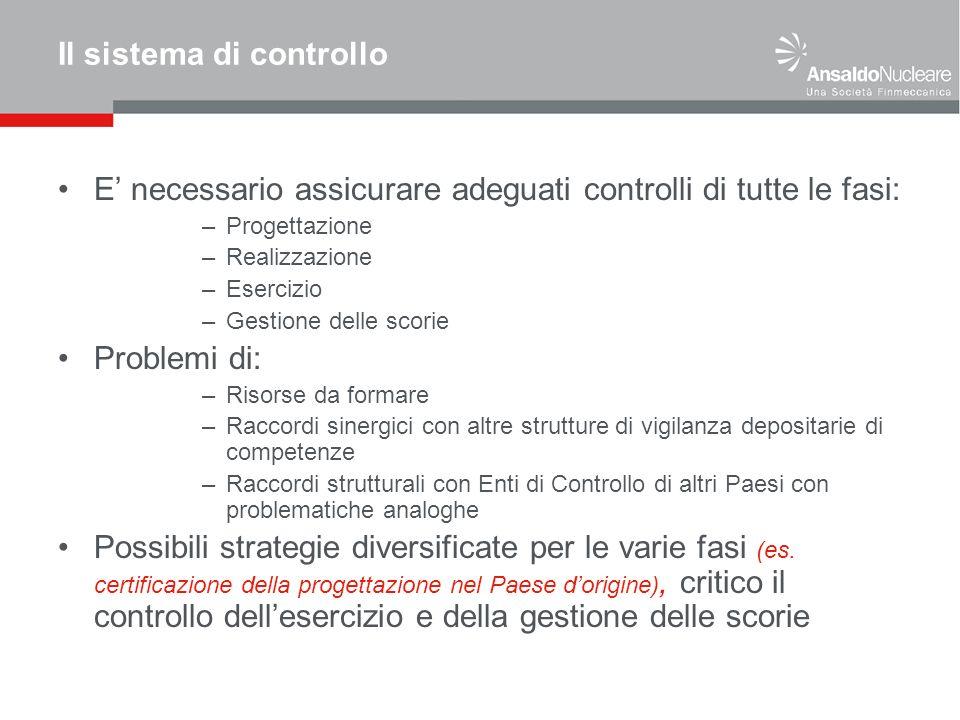 Il sistema di controllo E necessario assicurare adeguati controlli di tutte le fasi: –Progettazione –Realizzazione –Esercizio –Gestione delle scorie P