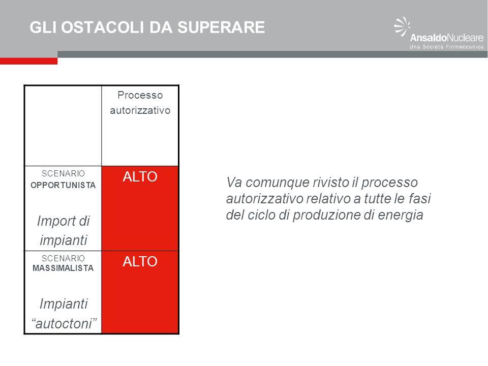 GLI OSTACOLI DA SUPERARE Processo autorizzativo SCENARIO OPPORTUNISTA Import di impianti ALTO SCENARIO MASSIMALISTA Impianti autoctoni ALTO Va comunque rivisto il processo autorizzativo relativo a tutte le fasi del ciclo di produzione di energia