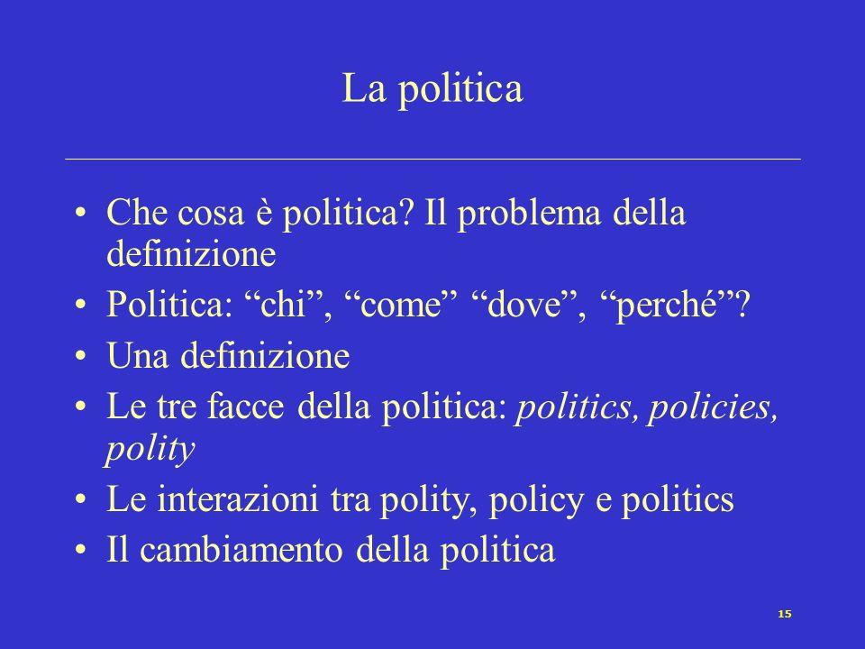 14 I temi della scienza politica Studi sui partiti e studi elettorali Teoria politica, élites, strutture decisionali Politiche pubbliche, relazioni in