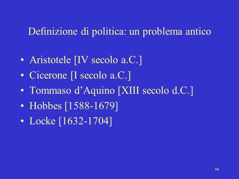 15 La politica Che cosa è politica? Il problema della definizione Politica: chi, come dove, perché? Una definizione Le tre facce della politica: polit
