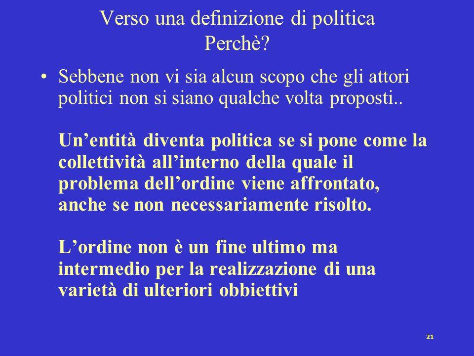 20 Verso una definizione di politica Dove? La politica è sempre legata ad una collettività definita.. ma questa può non essere uno stato o un sistema