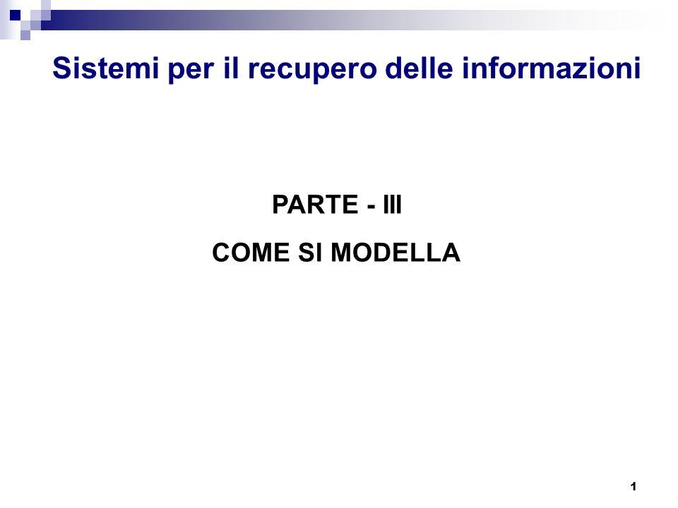 1 Sistemi per il recupero delle informazioni PARTE - III COME SI MODELLA