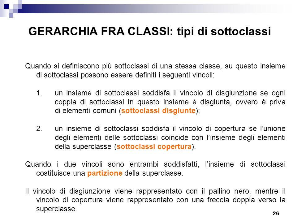 26 GERARCHIA FRA CLASSI: tipi di sottoclassi Quando si definiscono più sottoclassi di una stessa classe, su questo insieme di sottoclassi possono essere definiti i seguenti vincoli: 1.