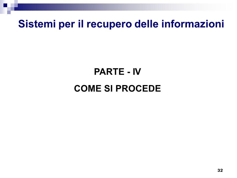 32 Sistemi per il recupero delle informazioni PARTE - IV COME SI PROCEDE