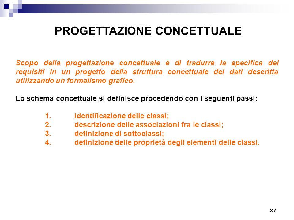 37 PROGETTAZIONE CONCETTUALE Scopo della progettazione concettuale è di tradurre la specifica dei requisiti in un progetto della struttura concettuale dei dati descritta utilizzando un formalismo grafico.