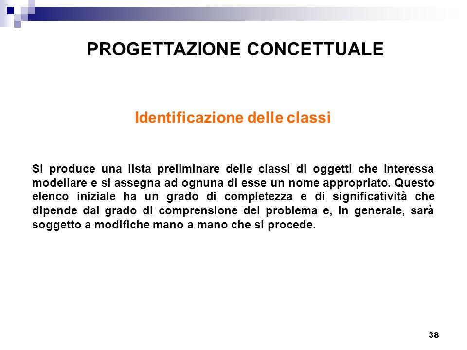 38 PROGETTAZIONE CONCETTUALE Identificazione delle classi Si produce una lista preliminare delle classi di oggetti che interessa modellare e si assegna ad ognuna di esse un nome appropriato.