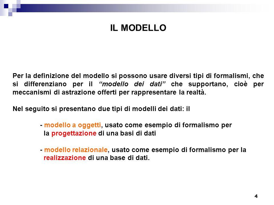 4 IL MODELLO Per la definizione del modello si possono usare diversi tipi di formalismi, che si differenziano per il modello dei dati che supportano, cioè per meccanismi di astrazione offerti per rappresentare la realtà.