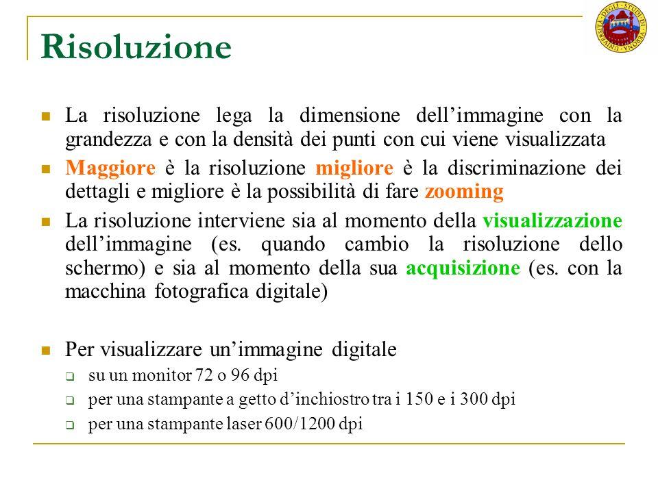 Risoluzione La risoluzione lega la dimensione dellimmagine con la grandezza e con la densità dei punti con cui viene visualizzata Maggiore è la risolu