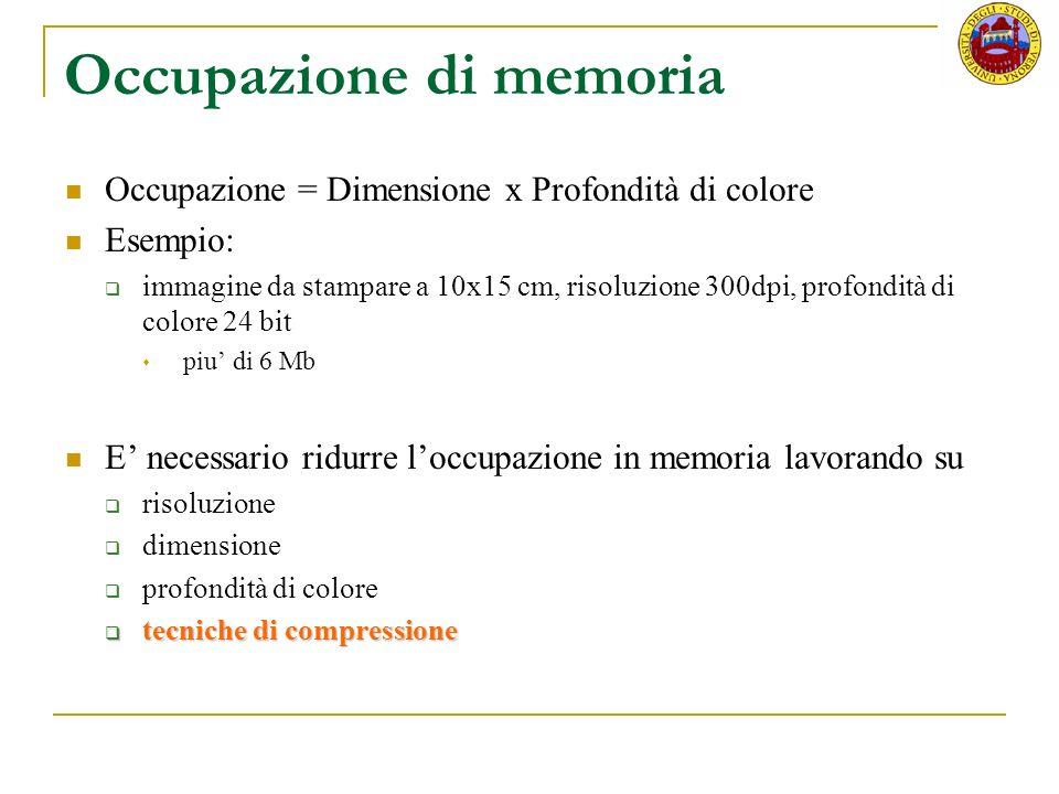 Occupazione di memoria Occupazione = Dimensione x Profondità di colore Esempio: immagine da stampare a 10x15 cm, risoluzione 300dpi, profondità di col