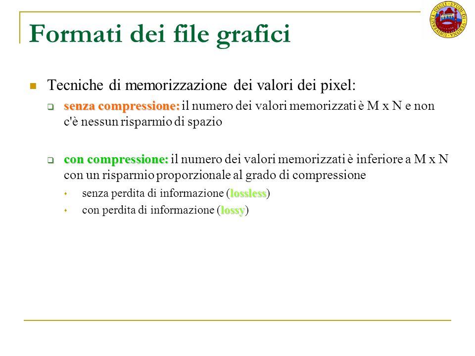 Formati dei file grafici Tecniche di memorizzazione dei valori dei pixel: senza compressione: senza compressione: il numero dei valori memorizzati è M