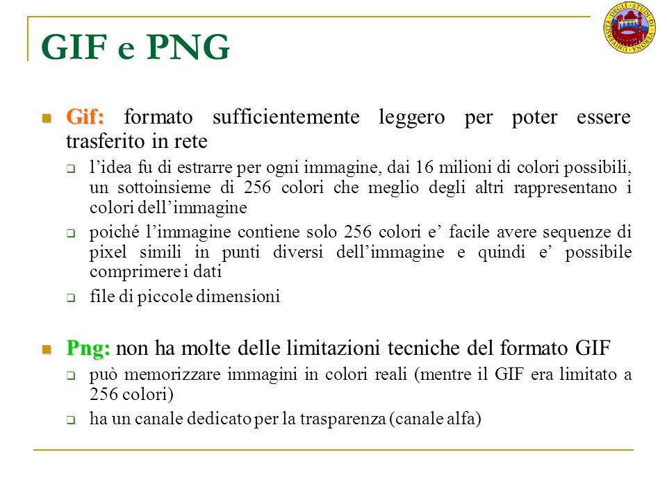 GIF e PNG Gif: Gif: formato sufficientemente leggero per poter essere trasferito in rete lidea fu di estrarre per ogni immagine, dai 16 milioni di col