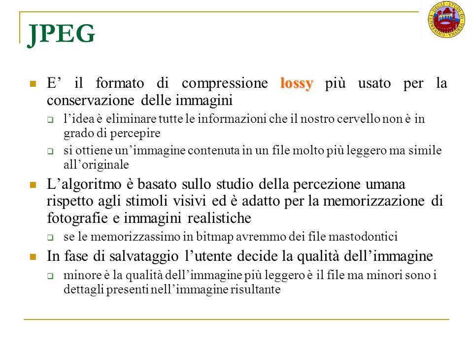 JPEG lossy E il formato di compressione lossy più usato per la conservazione delle immagini lidea è eliminare tutte le informazioni che il nostro cerv