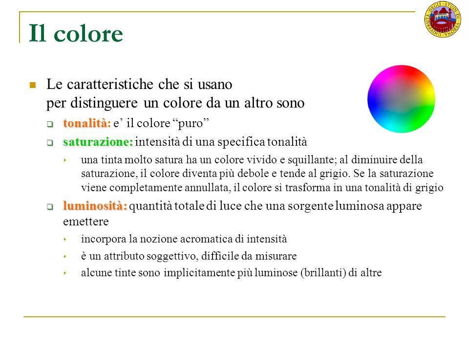 Il colore Le caratteristiche che si usano per distinguere un colore da un altro sono tonalità tonalità: e il colore puro saturazione: saturazione: int