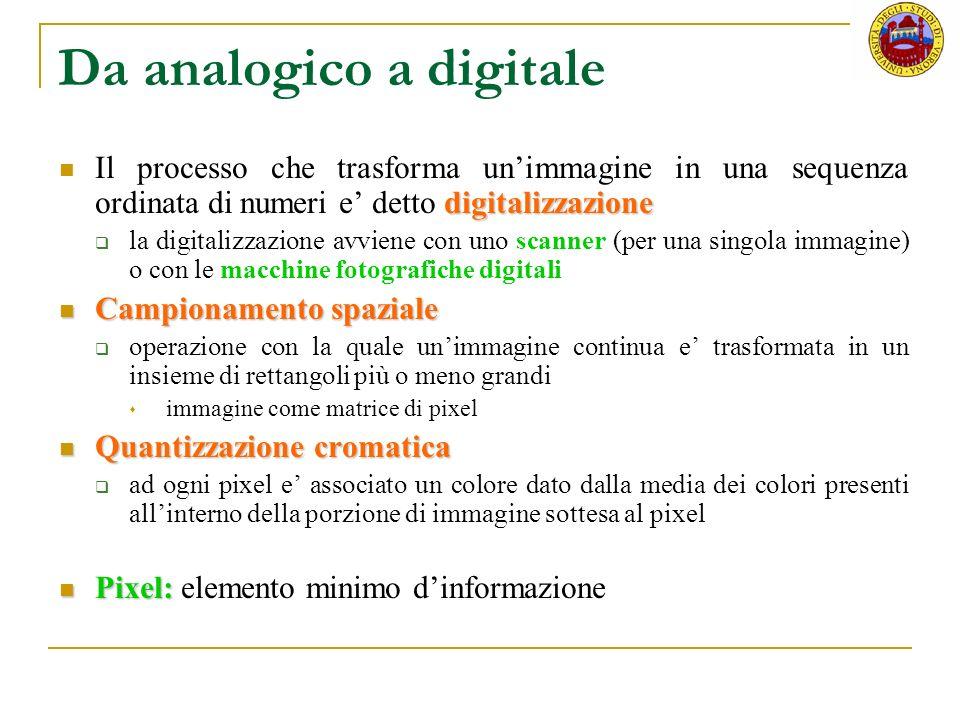 Da analogico a digitale digitalizzazione Il processo che trasforma unimmagine in una sequenza ordinata di numeri e detto digitalizzazione la digitaliz