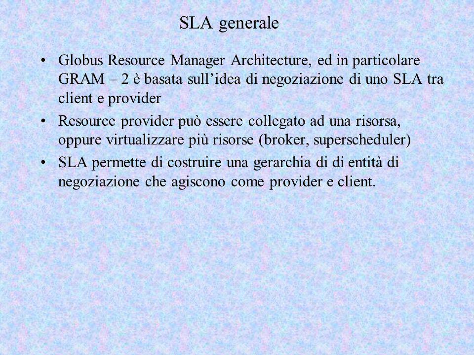 SLA generale Globus Resource Manager Architecture, ed in particolare GRAM – 2 è basata sullidea di negoziazione di uno SLA tra client e provider Resource provider può essere collegato ad una risorsa, oppure virtualizzare più risorse (broker, superscheduler) SLA permette di costruire una gerarchia di di entità di negoziazione che agiscono come provider e client.
