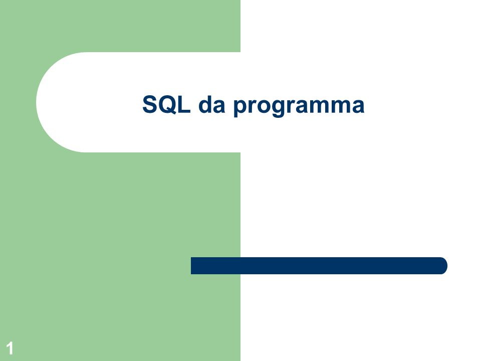 SQL da programma 102 JDBC - Tipi di driver Esistono quattro tipi di driver: – JDBC-ODBC Bridge + ODBC Driver – A native-API partly Java technology-enabled driver – Pure Java Driver for Database Middleware – Direct-to-Database Pure Java Driver.