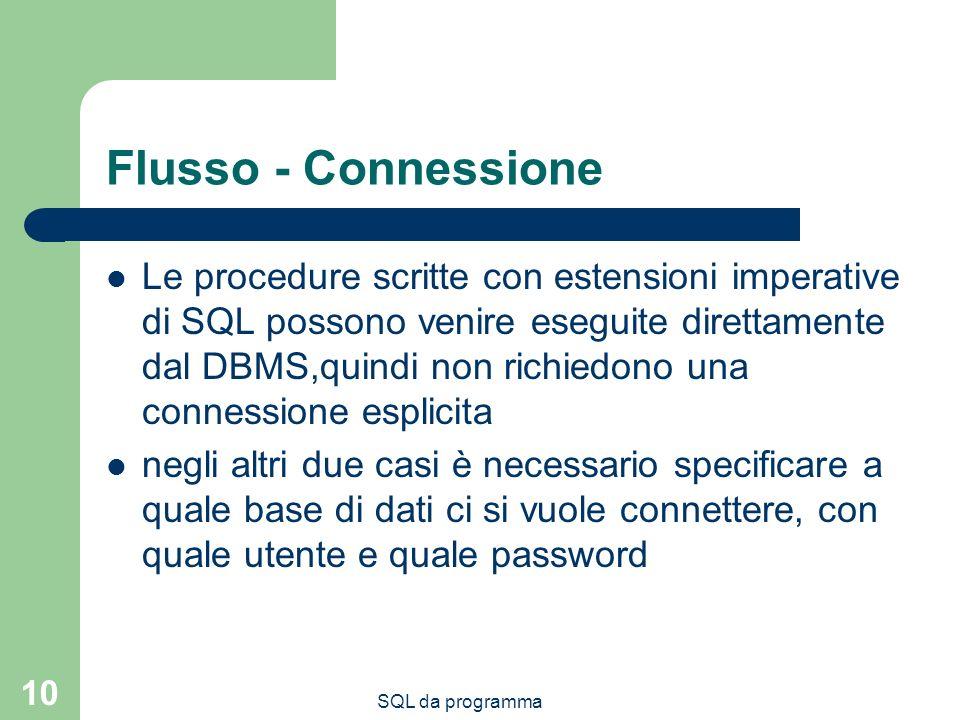 SQL da programma 10 Flusso - Connessione Le procedure scritte con estensioni imperative di SQL possono venire eseguite direttamente dal DBMS,quindi no