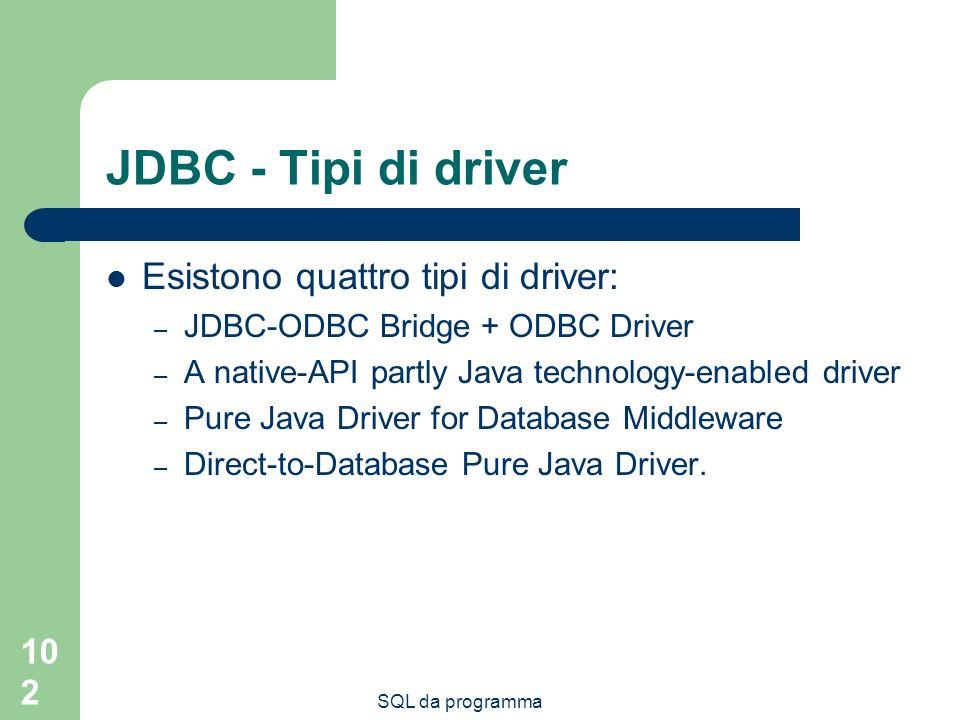 SQL da programma 102 JDBC - Tipi di driver Esistono quattro tipi di driver: – JDBC-ODBC Bridge + ODBC Driver – A native-API partly Java technology-ena