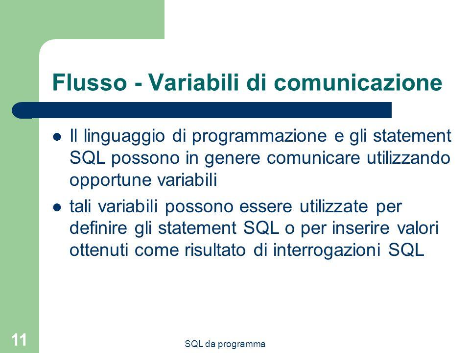SQL da programma 11 Flusso - Variabili di comunicazione Il linguaggio di programmazione e gli statement SQL possono in genere comunicare utilizzando opportune variabili tali variabili possono essere utilizzate per definire gli statement SQL o per inserire valori ottenuti come risultato di interrogazioni SQL
