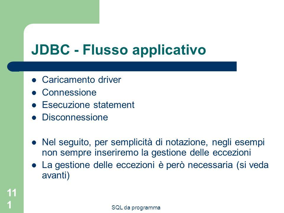 SQL da programma 111 JDBC - Flusso applicativo Caricamento driver Connessione Esecuzione statement Disconnessione Nel seguito, per semplicità di notaz