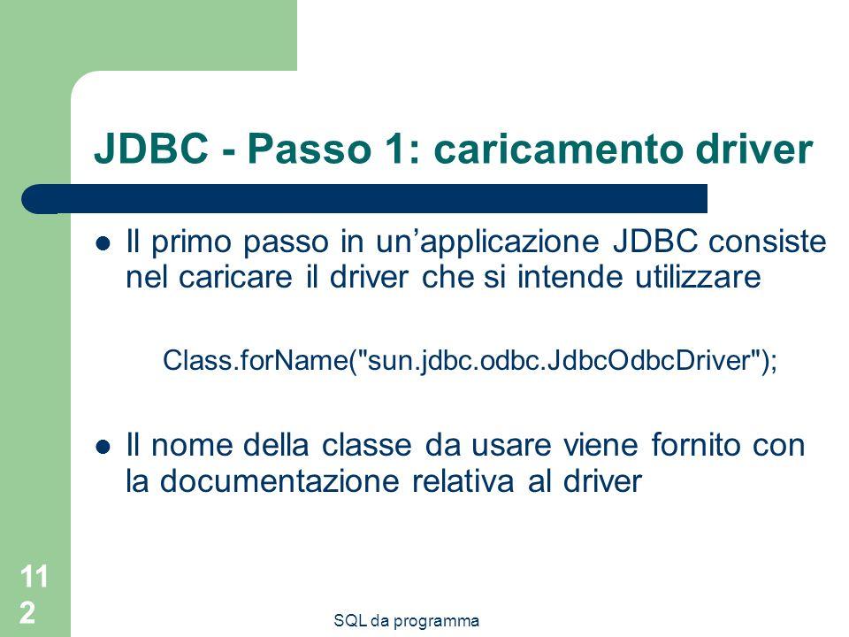 SQL da programma 112 JDBC - Passo 1: caricamento driver Il primo passo in unapplicazione JDBC consiste nel caricare il driver che si intende utilizzare Class.forName( sun.jdbc.odbc.JdbcOdbcDriver ); Il nome della classe da usare viene fornito con la documentazione relativa al driver