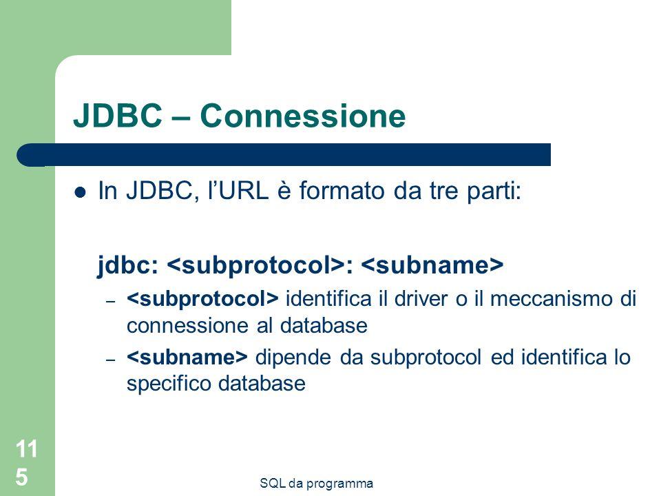 SQL da programma 115 JDBC – Connessione In JDBC, lURL è formato da tre parti: jdbc: : – identifica il driver o il meccanismo di connessione al database – dipende da subprotocol ed identifica lo specifico database