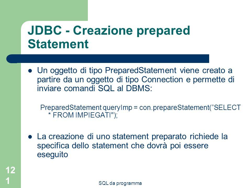 SQL da programma 121 JDBC - Creazione prepared Statement Un oggetto di tipo PreparedStatement viene creato a partire da un oggetto di tipo Connection