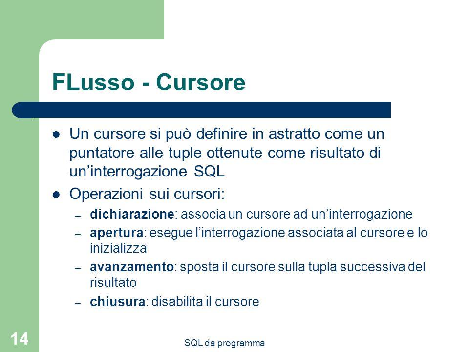 SQL da programma 14 FLusso - Cursore Un cursore si può definire in astratto come un puntatore alle tuple ottenute come risultato di uninterrogazione S