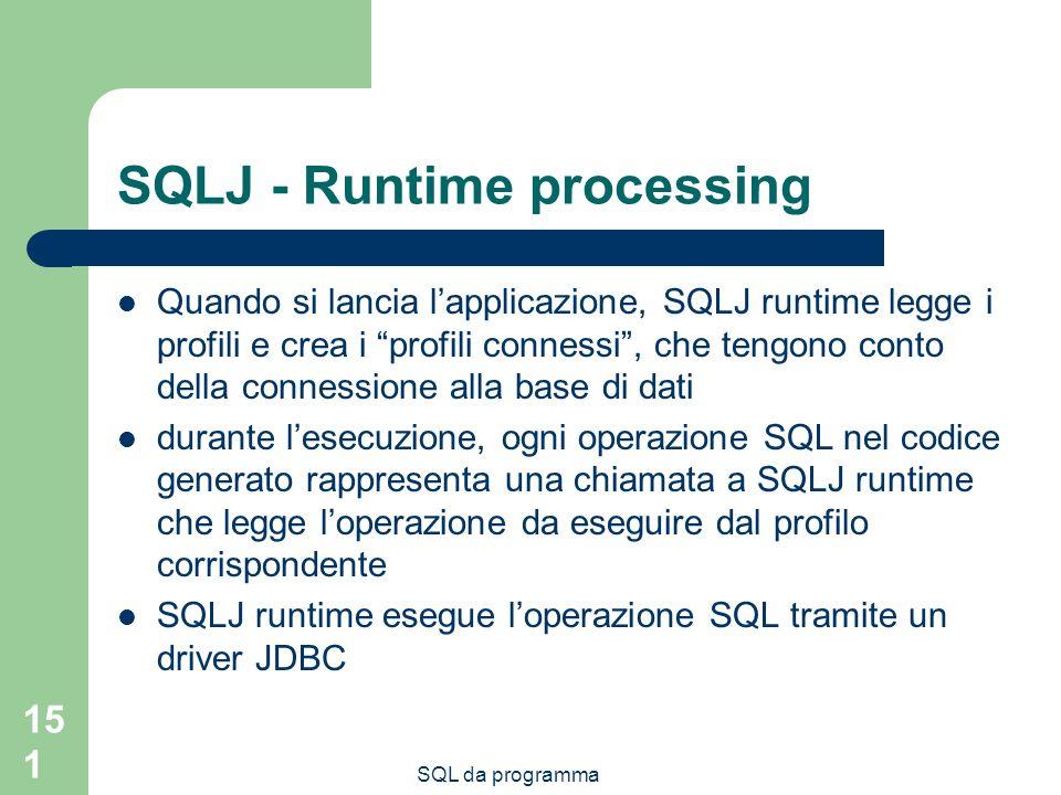 SQL da programma 151 SQLJ - Runtime processing Quando si lancia lapplicazione, SQLJ runtime legge i profili e crea i profili connessi, che tengono conto della connessione alla base di dati durante lesecuzione, ogni operazione SQL nel codice generato rappresenta una chiamata a SQLJ runtime che legge loperazione da eseguire dal profilo corrispondente SQLJ runtime esegue loperazione SQL tramite un driver JDBC