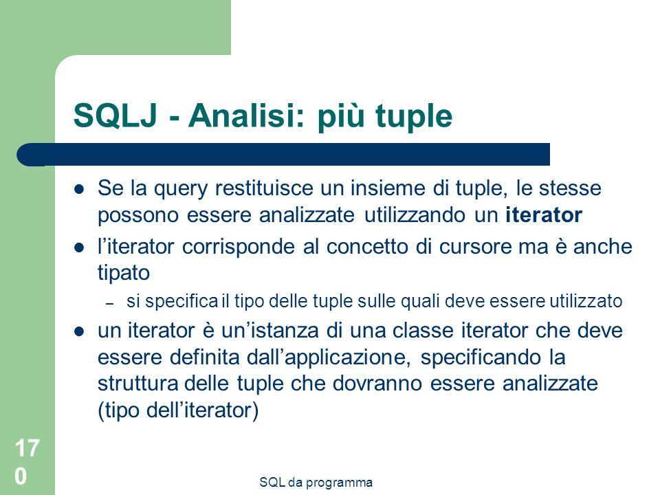 SQL da programma 170 SQLJ - Analisi: più tuple Se la query restituisce un insieme di tuple, le stesse possono essere analizzate utilizzando un iterator literator corrisponde al concetto di cursore ma è anche tipato – si specifica il tipo delle tuple sulle quali deve essere utilizzato un iterator è unistanza di una classe iterator che deve essere definita dallapplicazione, specificando la struttura delle tuple che dovranno essere analizzate (tipo delliterator)