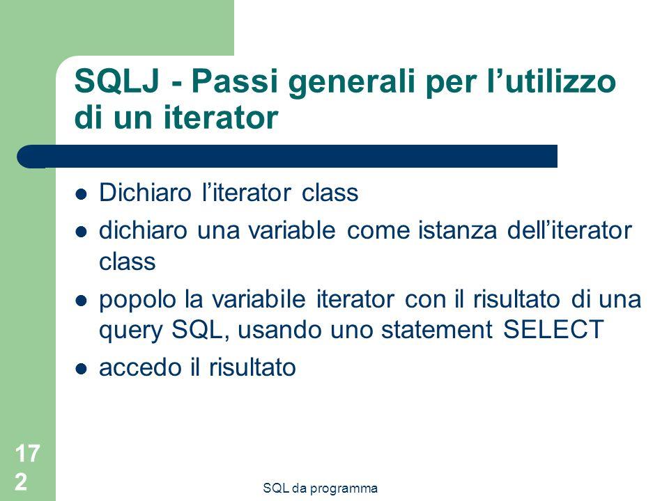 SQL da programma 172 SQLJ - Passi generali per lutilizzo di un iterator Dichiaro literator class dichiaro una variable come istanza delliterator class popolo la variabile iterator con il risultato di una query SQL, usando uno statement SELECT accedo il risultato