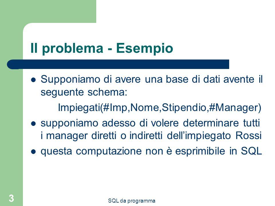 SQL da programma 3 Il problema - Esempio Supponiamo di avere una base di dati avente il seguente schema: Impiegati(#Imp,Nome,Stipendio,#Manager) suppo