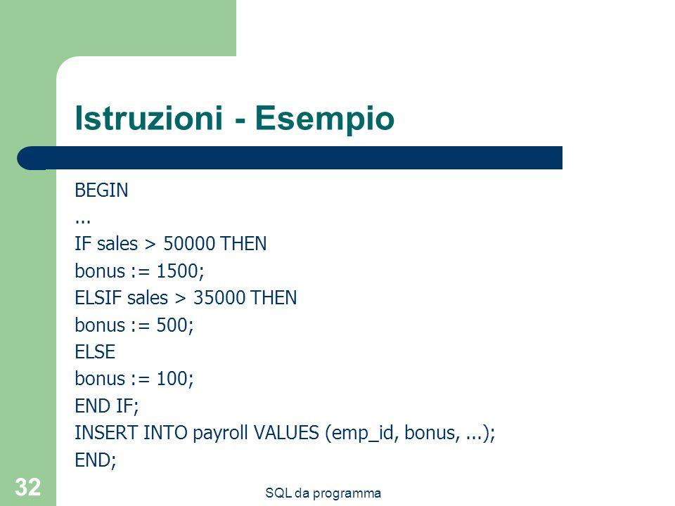 SQL da programma 32 Istruzioni - Esempio BEGIN... IF sales > 50000 THEN bonus := 1500; ELSIF sales > 35000 THEN bonus := 500; ELSE bonus := 100; END I