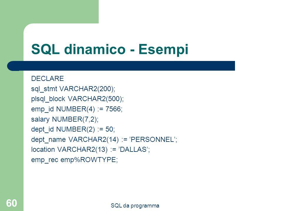 SQL da programma 60 SQL dinamico - Esempi DECLARE sql_stmt VARCHAR2(200); plsql_block VARCHAR2(500); emp_id NUMBER(4) := 7566; salary NUMBER(7,2); dept_id NUMBER(2) := 50; dept_name VARCHAR2(14) := PERSONNEL; location VARCHAR2(13) := DALLAS; emp_rec emp%ROWTYPE;