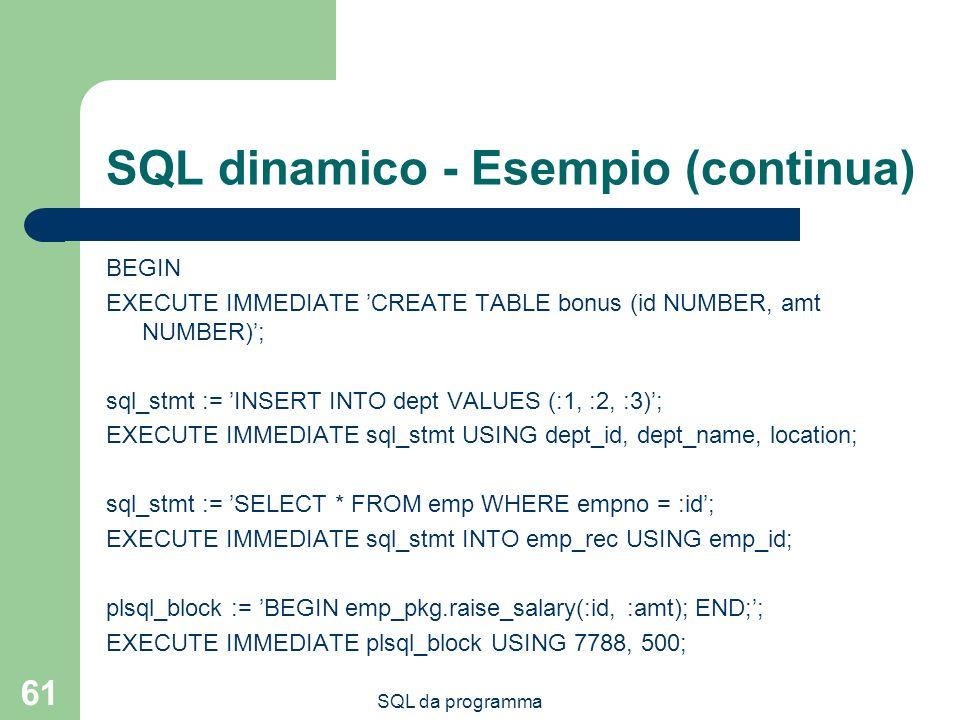 SQL da programma 61 SQL dinamico - Esempio (continua) BEGIN EXECUTE IMMEDIATE CREATE TABLE bonus (id NUMBER, amt NUMBER); sql_stmt := INSERT INTO dept