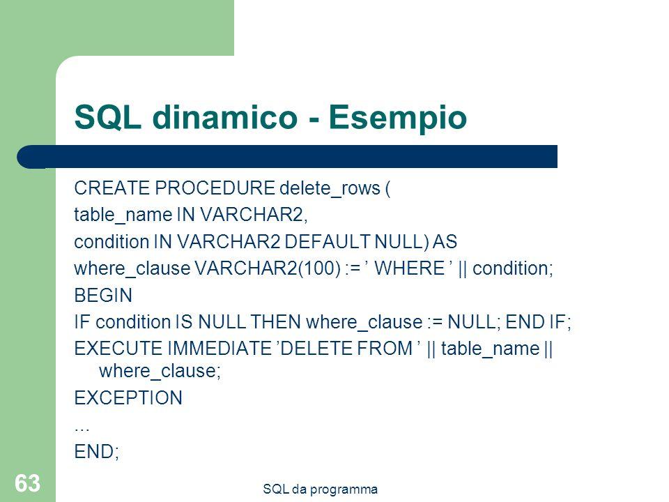 SQL da programma 63 SQL dinamico - Esempio CREATE PROCEDURE delete_rows ( table_name IN VARCHAR2, condition IN VARCHAR2 DEFAULT NULL) AS where_clause