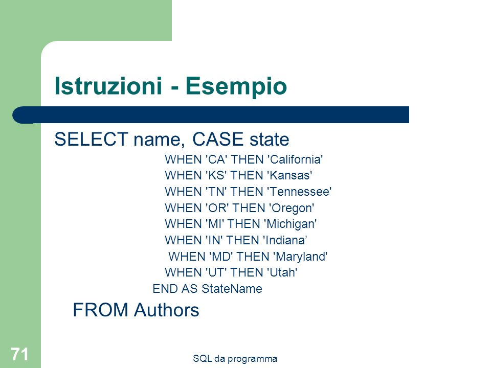 SQL da programma 71 Istruzioni - Esempio SELECT name, CASE state WHEN CA THEN California WHEN KS THEN Kansas WHEN TN THEN Tennessee WHEN OR THEN Oregon WHEN MI THEN Michigan WHEN IN THEN Indiana WHEN MD THEN Maryland WHEN UT THEN Utah END AS StateName FROM Authors