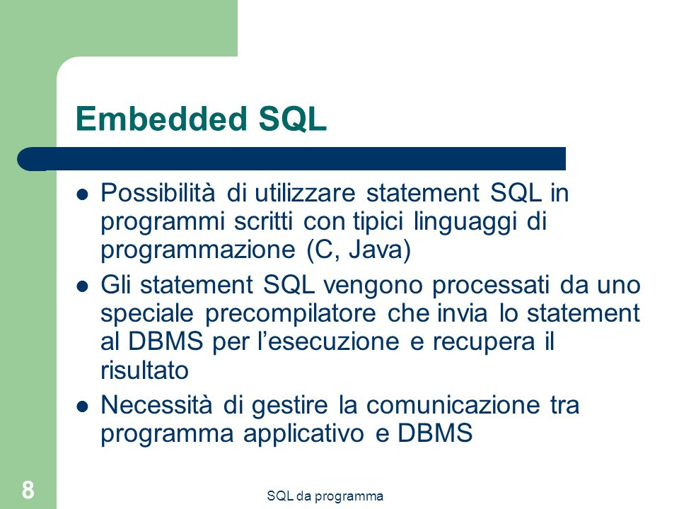 SQL da programma 49 Funzioni [CREATE [OR REPLACE]] FUNCTION function_name[(parameter[, parameter]...)] RETURN datatype} {IS|AS} [local declarations] BEGIN executable statements [EXCEPTION exception handlers] END [name];