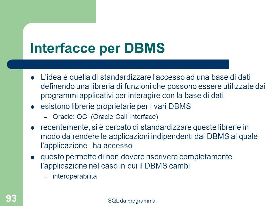 SQL da programma 93 Interfacce per DBMS Lidea è quella di standardizzare laccesso ad una base di dati definendo una libreria di funzioni che possono essere utilizzate dai programmi applicativi per interagire con la base di dati esistono librerie proprietarie per i vari DBMS – Oracle: OCI (Oracle Call Interface) recentemente, si è cercato di standardizzare queste librerie in modo da rendere le applicazioni indipendenti dal DBMS al quale lapplicazione ha accesso questo permette di non dovere riscrivere completamente lapplicazione nel caso in cui il DBMS cambi – interoperabilità