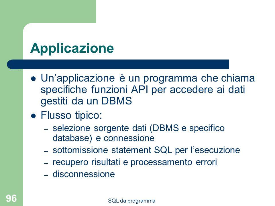SQL da programma 96 Applicazione Unapplicazione è un programma che chiama specifiche funzioni API per accedere ai dati gestiti da un DBMS Flusso tipic