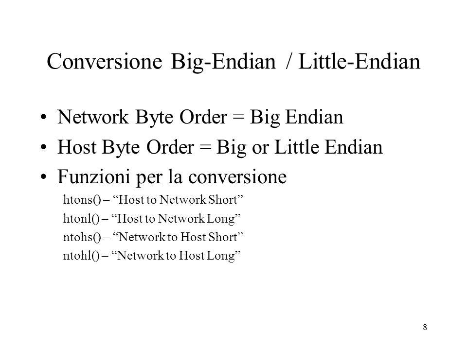 9 Funzioni utili in_addr_t inet_addr (const char *str); restituisce il valore a 32-bit, nellordine di rete, ottenuto dalla conversione della stringa puntata da str.