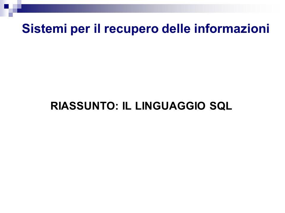 Sistemi per il recupero delle informazioni RIASSUNTO: IL LINGUAGGIO SQL