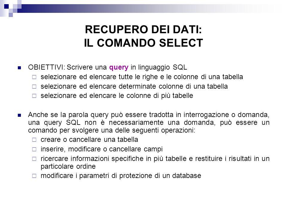RECUPERO DEI DATI: IL COMANDO SELECT OBIETTIVI: Scrivere una query in linguaggio SQL selezionare ed elencare tutte le righe e le colonne di una tabell