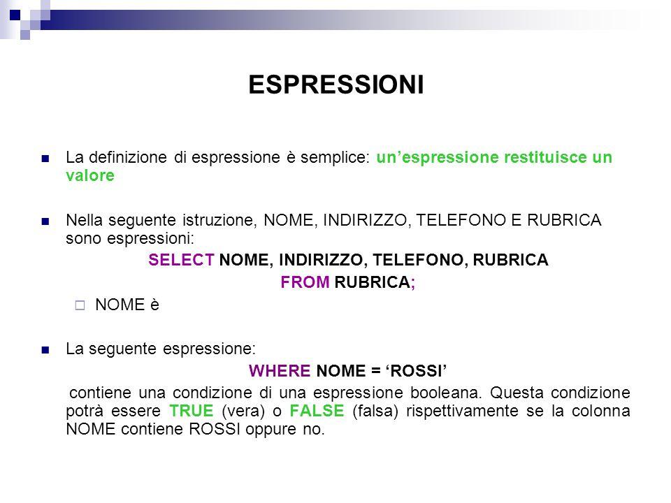 ESPRESSIONI La definizione di espressione è semplice: unespressione restituisce un valore Nella seguente istruzione, NOME, INDIRIZZO, TELEFONO E RUBRI