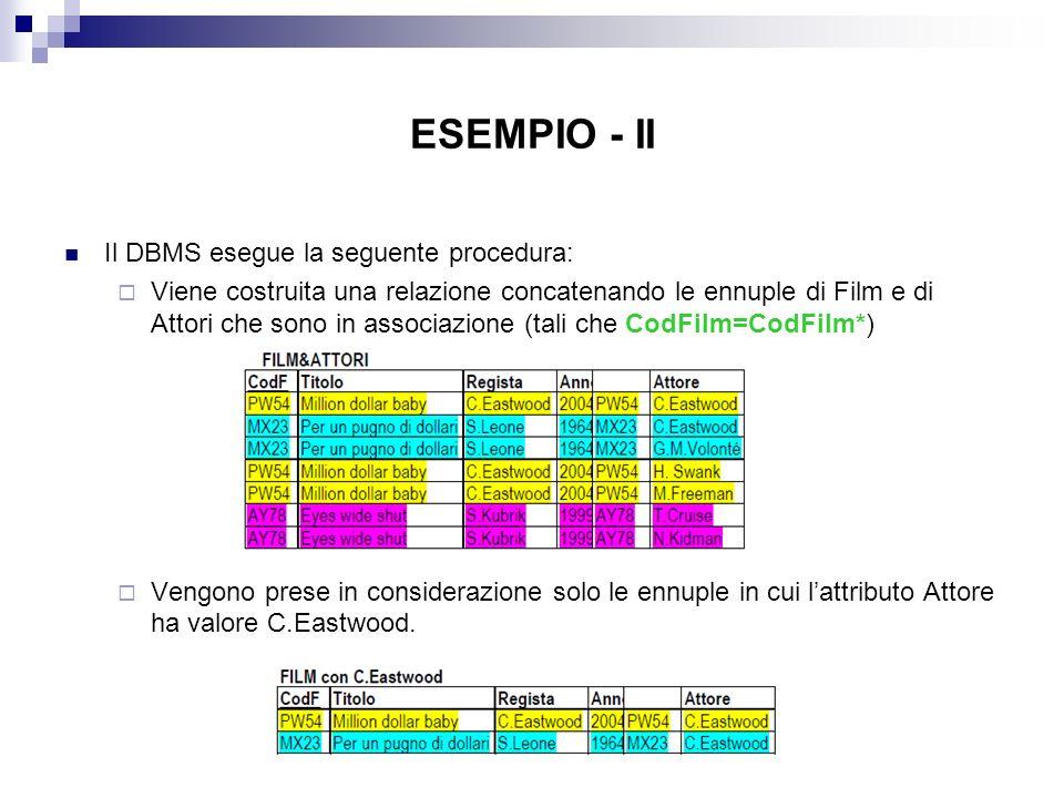 ESEMPIO - II Il DBMS esegue la seguente procedura: Viene costruita una relazione concatenando le ennuple di Film e di Attori che sono in associazione