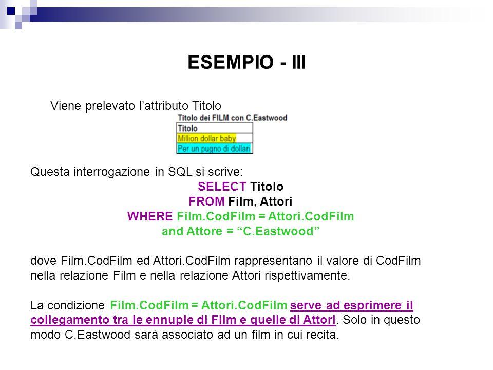 ESEMPIO - III Viene prelevato lattributo Titolo Questa interrogazione in SQL si scrive: SELECT Titolo FROM Film, Attori WHERE Film.CodFilm = Attori.Co