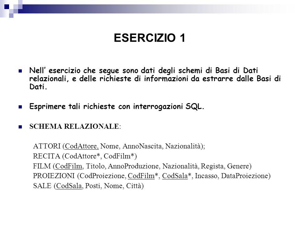 ESERCIZIO 1 Nell esercizio che segue sono dati degli schemi di Basi di Dati relazionali, e delle richieste di informazioni da estrarre dalle Basi di D