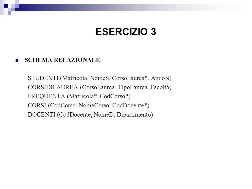 ESERCIZIO 3 SCHEMA RELAZIONALE: STUDENTI (Matricola, NomeS, CorsoLaurea*, AnnoN) CORSIDILAUREA (CorsoLaurea, TipoLaurea, Facoltà) FREQUENTA (Matricola